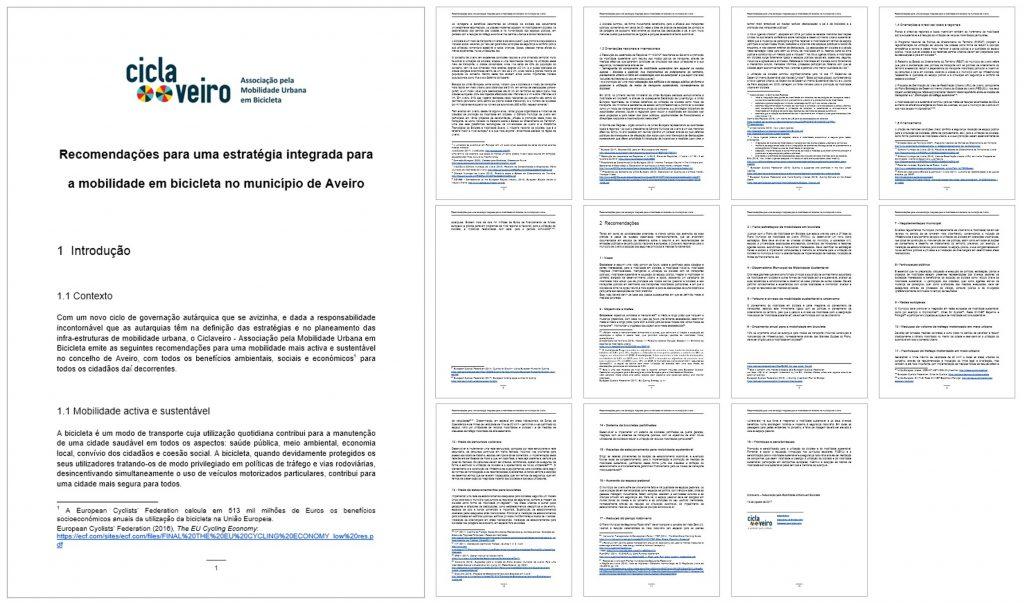 Ciclaveiro (Agosto 2017), Recomendações para uma estratégia integrada para a mobilidade em bicicleta no município de Aveiro.
