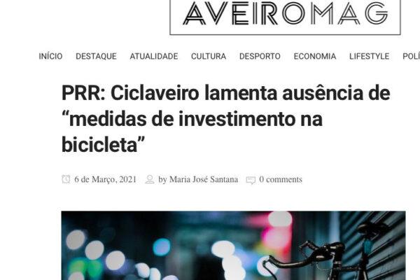 """PRR: Ciclaveiro lamenta ausência de """"medidas de investimento na bicicleta"""""""